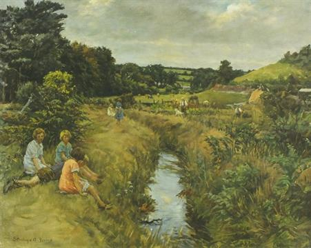 'Angarrack Valley' children sitting by a stream